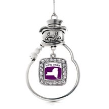 Inspired Silver New York Outline Classic Snowman Holiday Christmas Tree Ornament - $14.69