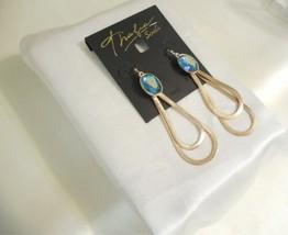 "Thalia Sodi 3"" Gold Tone Blue Green Stone Dangle Drop Earrings R669 $29 - $14.39"