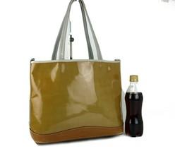 Auth PRADA Milano Yellow PVC & Brown Leather Tote Semi Shoulder Hand Bag... - $127.71
