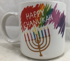 Happy Chanukah Rainbow (Russ Berrie) Coffee Mug Menorah Festive Hanukkah... - $14.84