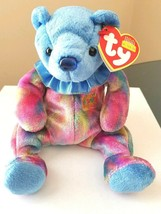 TY Beanie Babies Birthday Bear SEPTEMBER Blue Nose Tie Dye Bear Plush To... - $4.65