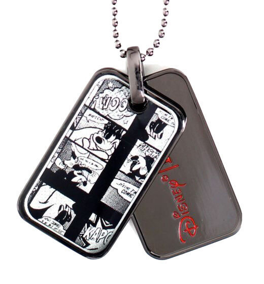 Officially Licensed Disney Flud Mickey Mouse Donald Duck Comic GunMetal Dog Tags
