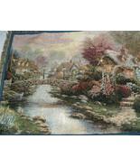 Thomas Kinkade Tapestry Throw Blanket Lamplight Bridge Painter of Light ... - $40.00
