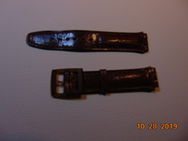 18MM, Swatch Watch, Brown Leather Replacement Band, with Plastic Buckle.  - $8.99