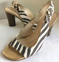 Kate Spade 6 B Zebra Stripe Canvas Sandals 3-in Cylindrical Tortoise Hee... - $26.82