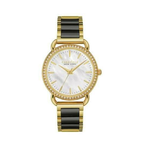 Primary image for Women's Stainless Bracelet Caravelle New York 44L187 Pearl Dial Two Tone Watch
