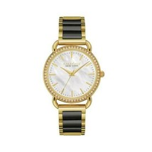 Women's Stainless Bracelet Caravelle New York 44L187 Pearl Dial Two Tone... - $86.44