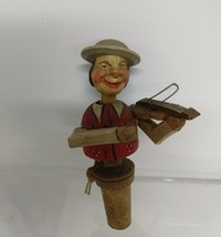 """Vintage Hand carved German Wine stopper puppet.  Plays the violin. 5"""" - $45.00"""