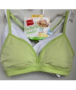 Hanes Girl's 2pk On The Go Comfort Modesty Pads Green/White Bra Size Small - $9.90
