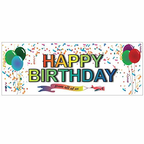 Happy Birthday Themes Vinyl Banner 11 Oz with Metal Grommets & Hemmed Edges for