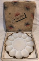 NEVER USED Vintage Anchorglass Milk Glass W/Gold Trim Egg Plate W/Box! - $22.50