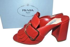 PRADA Kiltie Fringe Buckle Slide Mules Block Heel Shoe RED Sandals Sling... - $420.00