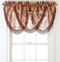 Home Expressions Lisette Stripe Rod-Pocket Waterfall Valance Claret Multi New - $19.99