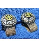 Vintage Pair Cufflinks Cuff Links w mesh strips Etruscan Style beaded en... - $58.49