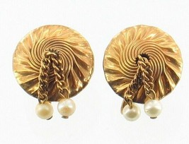 VINTAGE GF GOLD FILLED SPIRAL TURNED ~DROP DANGLE PEARL SCREW BACK EARRINGS - $35.99