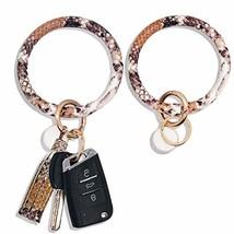 2PCS Leather Wristlet Keychain Bracelet Bangle Round Key (Snakeskin Colo... - $18.53