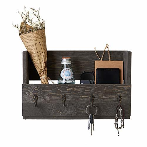 Distressed Rustic Gray Pine Wood Wall Mounted Mail Holder Organizer with 4 Key H