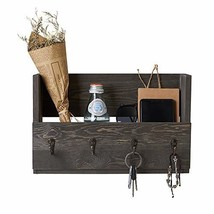 Distressed Rustic Gray Pine Wood Wall Mounted Mail Holder Organizer with 4 Key H image 1