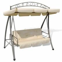 vidaXL Outdoor Swing Chair w/ Canopy Sand White Hammock Porch Garden Seat - $205.99