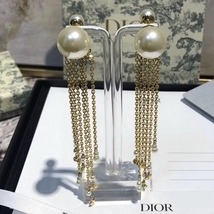 NEW AUTH Christian Dior 2020 DOUBLE PEARL EARRINGS GOLD DANGLE MULTI STRAND image 5