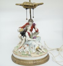 Vintage Double Bulb Lamp w Porcelain Courting Couple Figurine Made in Ge... - $296.99
