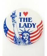 Vintage 1992 I Love (Heart) The Lady Statue of Liberty Ellis Island Button - $9.85