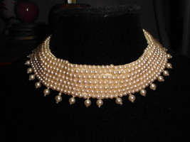 VTG Faux Plastic Pearl Collar Hand Made By Top Hit Fashion Baar Beards I... - $49.50