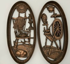 Vintage Burwood Spinning Wheel & Rocking Chair Cat Wall Decor Knitting S... - $26.68