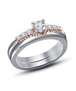 Two Tone Rose Gold And White Ladies Bridal Engagement-Ring With Sim Diam... - $75.48