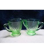 Green Vaseline glass swirl optic pattern creamer & sugar. - $25.00