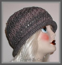 Shades Of Gray Hat For Women Rolled Brim Charcoal Flapper Large Grey - $28.00