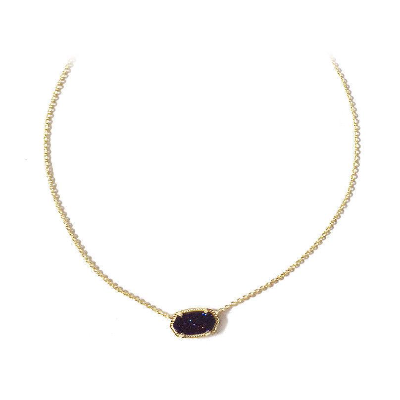 NEW! Kendra Scott Elisa Gold Sparkling Fuchsia Drusy Quartz Necklace Dust Cover