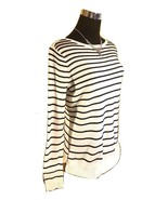 ELLE White w Black Stripes Textured Knit Sweater - XS - $24.97