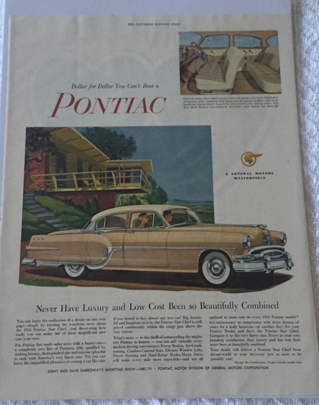Primary image for Vintage 1954 Pontiac Star Chief Magazine Advertisement Sealed!