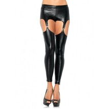 LA-1933 Sexy Black Wet Look Biker Opaque Leggings w/ Garter - $402,88 MXN