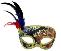 Blue And Red Venetian Style Mardi Gras Masquerade Mask W Feathers & Rhinestone - $13.91