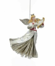 "Kurt Adler 5.5"" Ruby RED/PLATINUM Glittered Angel w/HARP Christmas Ornament - $14.88"