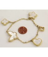 "FASHION Jewelry HIGH END MOTHER OF PEARL CHARM BRACELET - 8"" - £19.62 GBP"