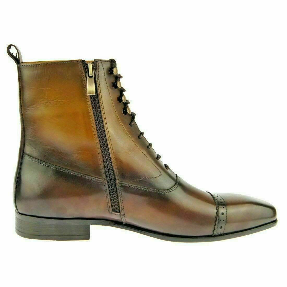 Handmade Men's Dark Brown High Ankle Lace Up & Zipper Boots