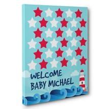 Nautical Lighthouse Baby Shower Guestbook Alternative Art - $20.29+