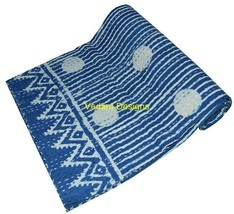 Indigo Blue Twin Size Kantha Quilt Bedspread Blanket Bedding Throw Rever... - $39.19