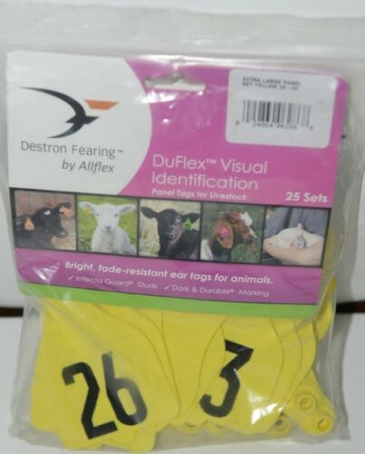 Destron Fearing DuFlex Visual ID Livestock Panel Tags XL Yellow 25 Sets 26 to 50