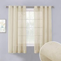 NICETOWN Crushed Sheer Curtains 63 inch Long, Grommet Crinkled Voile She... - $13.47