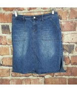 Venezia Lane Bryant Denim Skirt Womens Size 14 Slit A Line - $17.82
