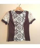 Moncollet Top 2 Floral Design Short Sheer Lace Sleeve Brown Ivory Blouse... - $12.59