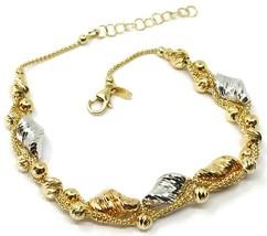 18K YELLOW WHITE GOLD BRACELET, BRAIDED BASKET LINK WIRES, WORKED BALLS SPIRALS image 1