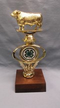 4H county fair trophy cow on riser award thick solid wood base - $6.89