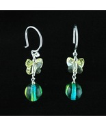 Sterling Silver Earrings_Glass and Yellow Butterfly Crystals - $20.00