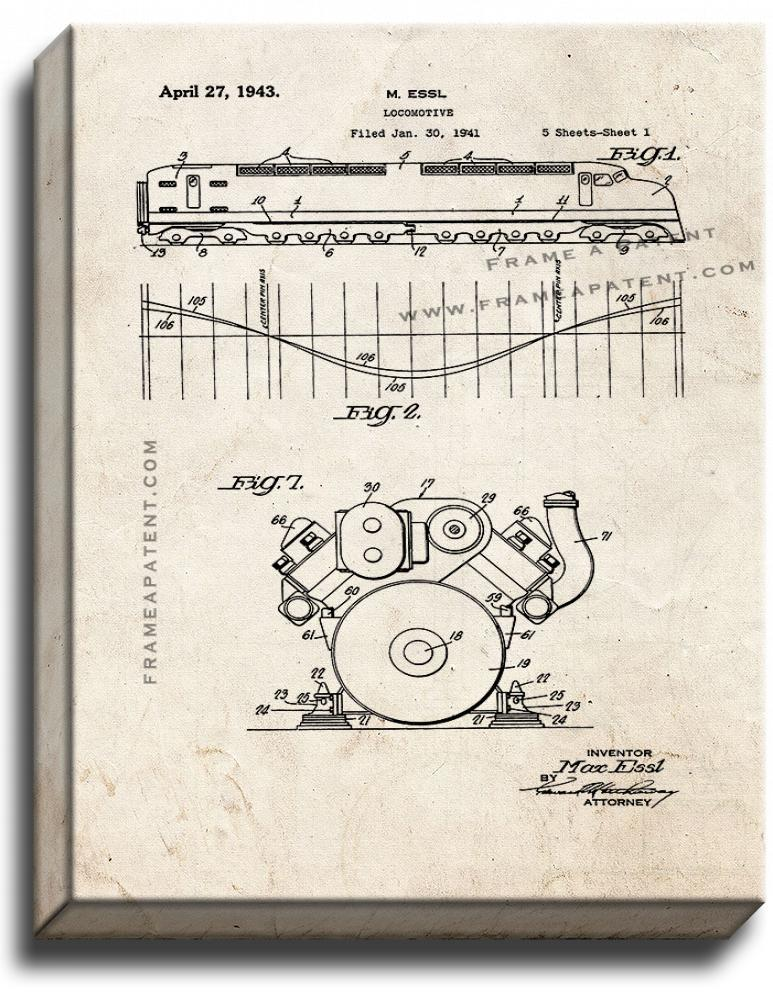 Primary image for Locomotive Train Patent Print Old Look on Canvas