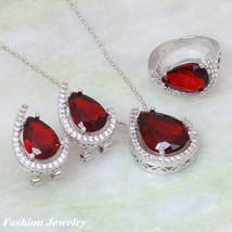 Fashion Jewelry Sets For Women 2019 Red Cubic Zirconia Silver Pendant/Ri... - $17.53